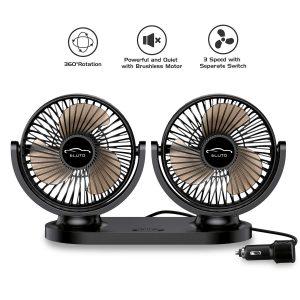best 12v fan: Dual Head Car Fans 12V/24V US