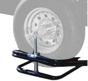 A unique RV leveler that is not your typical block shape, rather a drive screw mechanism to lift up your RV wheel to the desired height.
