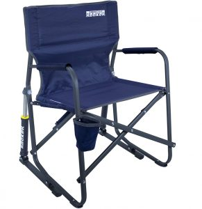 Rocking camp chair manufactured by GCI Outdoor that has spring action rocking technology and Eazy-Fold technology for a smooth experience.