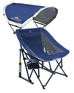 This rocking camp chair has the best extra features. In particular, the sunshade is unique among all of its kind.
