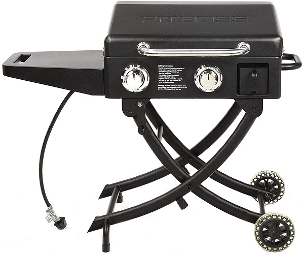 The best standing portable griddle in our review with a lockable cover and leg wheels for easy transportation.