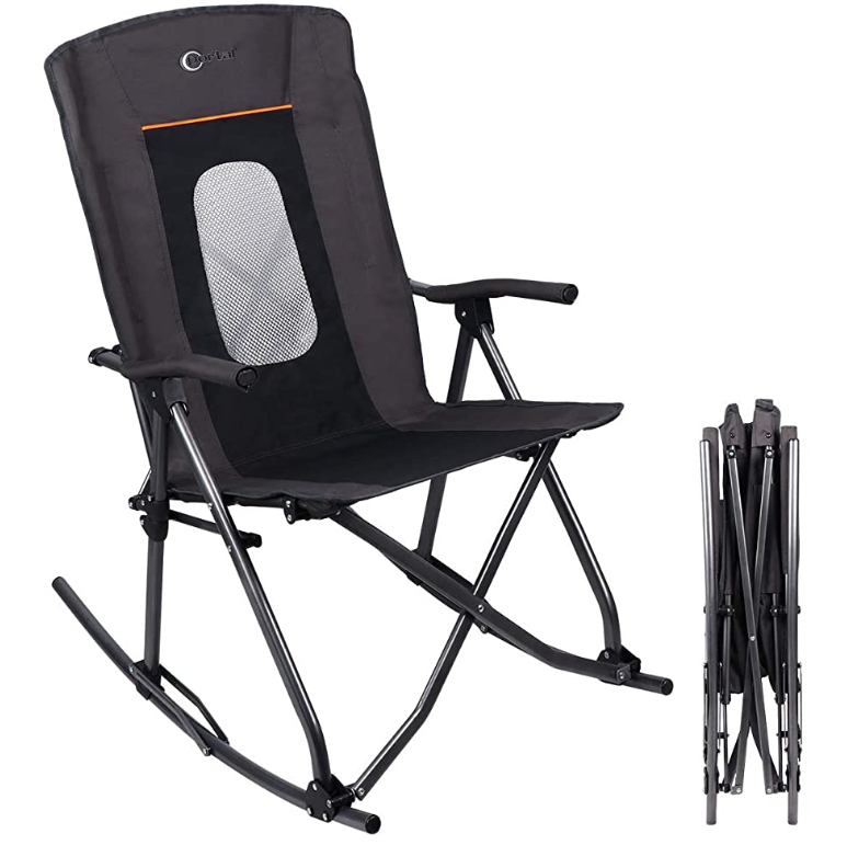 PORTAL Oversized Quad Folding Camping Rocking Chair with High Mesh Back (Black)