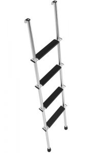 This is one of the best RV bunk ladders that has two types of attachment to hook onto the bunk rail. Both mounting systems are very stable and unique.