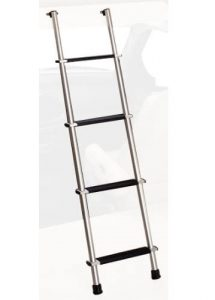 """""""The lightest RV bunk ladder reviewed in our article. It has a smooth satin finish and nylon pads on the steps for increased comfort. """""""